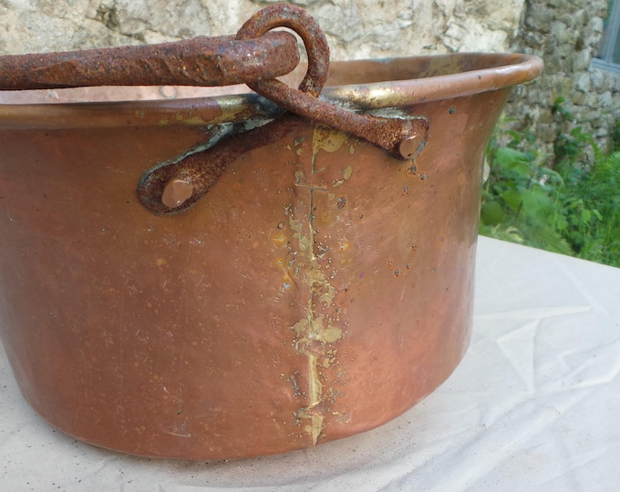 Antique Copper Cauldron Cast Iron Handle Copper Seau Jam Pan Bassine True Antique Patina Unpolished Quality Copper Direct From France