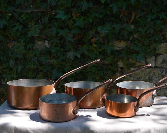 5 Five French Quality Vintage Mixed Collected Set Graduated Copper Pans 1 mm Unrestored Dark Tin Wear Cast Iron Handles Direct From France