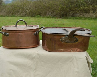 Two Antique Copper Daubieres Casseroles Faitouts French Stewing Casseroles Stock 36cm + 27cm Authentic Quality Copper Direct From France
