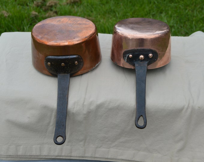 Ancient Copper Pans 1.4mm 1.2mm 16cm, 18cm Ancient Pans Tin Lined French Copper Pans Unrestored Quality Copper Direct from France