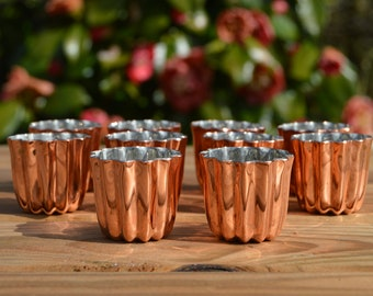 Ten Canneles 3.5 cm 1 1/2 in 10 New Old Stock Factory Seconds Tin Lined Copper Bordeaux Caneles Cake Molds Clearance Job Lot FREE SHIPPING