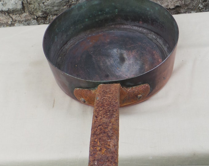 "Antique Copper Pan 2mm Copper Saute Copper Pan 23cm 9"" Unrestored Well Used Old Very Dark Tin Copper Pan Sauteuse Copper Direct From France"
