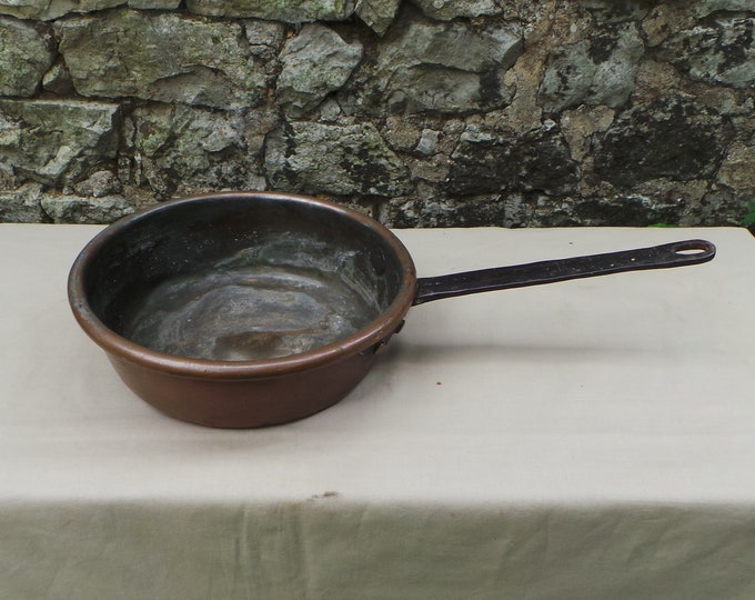 Antique Copper Saute Copper Pan Unrestored Sold As Found Unrefurbished Well Used Seasoned Tin Old 1800's Copper Pan Artisan Made