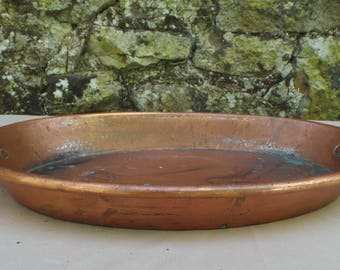 """Copper Big Gratin Pan Pie Dish Copper Roasting Dish Ring Handle 38 cm 15 """" Long 24cm 91/2"""" Wide Quality French Copper Pan Direct From France"""