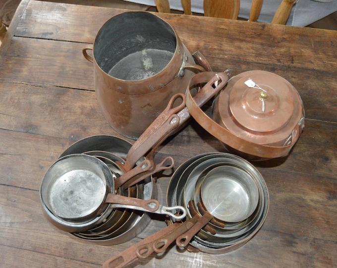 Reserved E Set 3 Job Lot 12 Copper Pans Antique and Vintage, Kettle, Antique Pot Unrestored Sold As Found