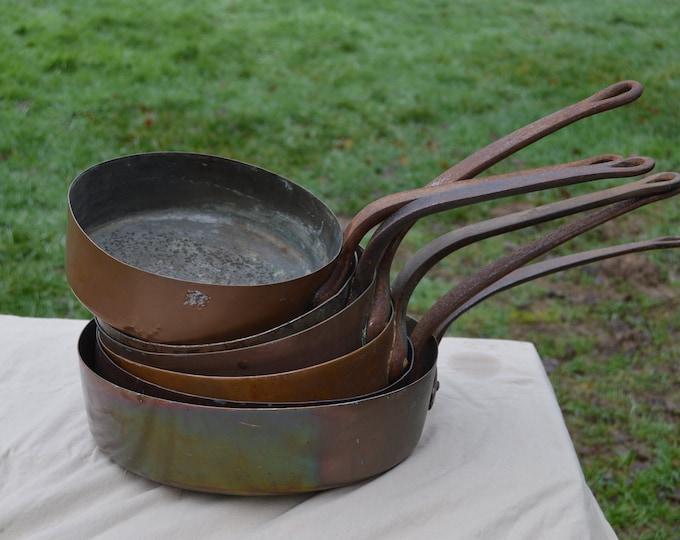 Job Lot Six Copper Saute Pans Ex Restaurant Copper Pans Unrestored Unrefurbished Unpolished Missing Tin Scratches 22-30cm Good Dealers Lot
