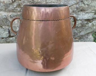 Antique BIG Copper Pot Copper Pot True Antique Patina Unpolished Unrestored Copper Direct From France Cast Copper Handles Dark Tin Lining