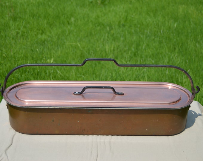 Copper and Aluminum Fish Kettle 62cm Long Copper Clad with Iron Swing Handle