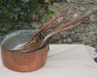 Job Lot 6 Copper Pans Old Restaurant Batterie Copper Pans Unrestored Sold As Found Unrefurbished Unpolished Well Used Scratches