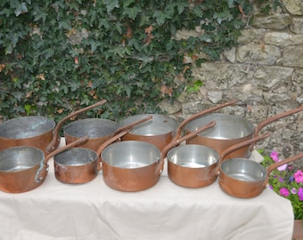 Job Lot 9 Copper Pans French Copper Pans Unlined Unrestored Sold As Found Unrefurbished Unpolished Well Used Scratches