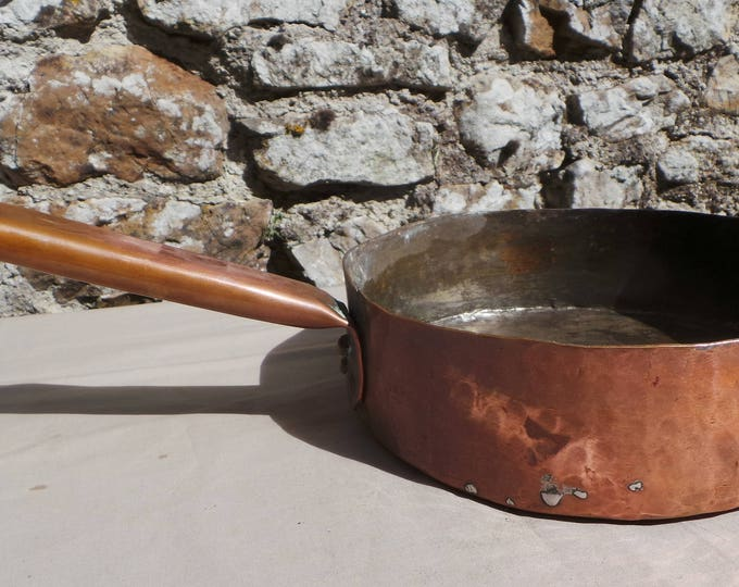 Antique Copper Saute Copper Pan Unrestored Unrefurbished Missing Tin Antique Old 1800's Copper Pan Artisan Made Copper Handle