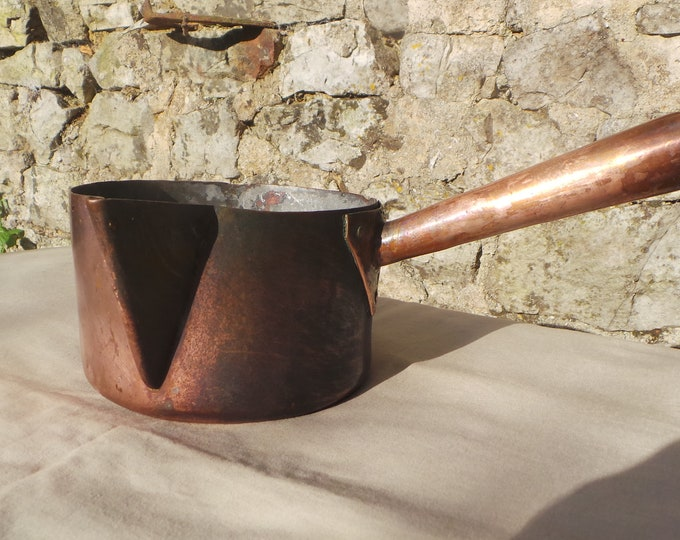 Copper Sugar Pan Lined All Copper Pan Patisserie Pan Chocolate Pan Meringues Sugar Melting Marshmallows Unrestored French Copper