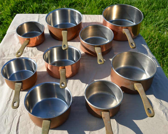 Job Lot 9 Copper Pans French Copper Pans Stainless Steel Unrestored Sold As Found Unrefurbished Unpolished Well Used Scratches