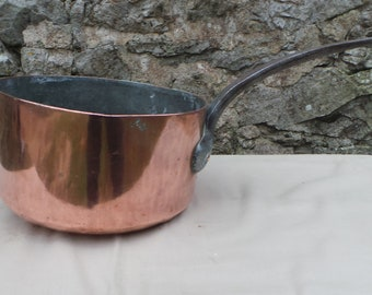 "Copper Pan 1.9mm Hammered Copper Saucepan Unrestored Sold As Found Unrefurbished Well Used 21cm 8"" 1.9 Kilos 4lbs 4oz Quality Copper"