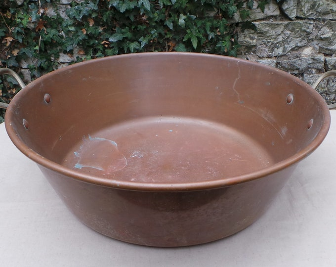 Vintage Copper Jam Pan Jam Pot Cast Bronze Handles Dented Body True Vintage Patina 1980's French Copper Quality Copper Direct From France