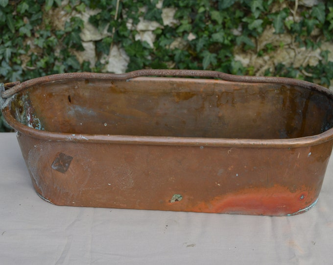 Vintage Unlined Fish Kettle 42cm Long All Copper Worn Condiments Container Jardinere Copper Poacher Herb Planter Verdigris