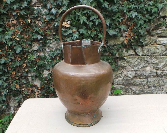 Antique Copper Milk Churn Bucket Copper Handle Seau Sold as Seen Unrestored Unrefurbished Unpolished Quality Copper Direct From France