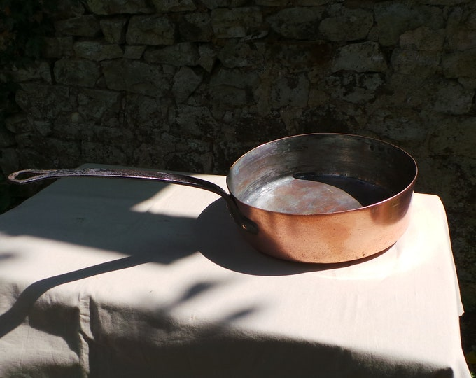 "Vintage 1.8mm Copper Pan Saute Pan 28cm 11"" Unrestored Well Used Missing Tin Lined Copper Direct From France Dented Uneven  Base Sauteuse"