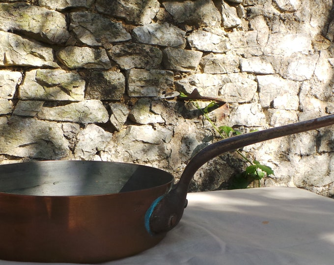 "Antique Copper Pan 1.4mm Copper Saute Copper Pan 22cm 8 5/8th"" Unrestored Well Used 'Chef's Tin' Copper Pan Sauteuse Copper From France"