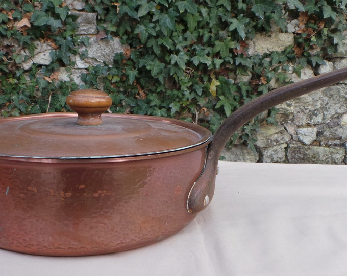 Saute and Lid 22cm Tin Lined French Copper Pan Antique Copper Pan Unrestored Quality Antique Copper Pans Direct from France