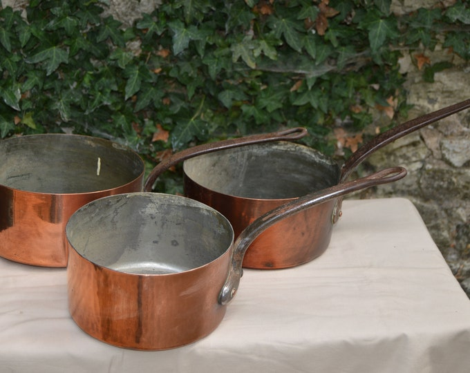 Three Antique Pans 20cm, 22cm and 23cm Tin Lined French Copper Pans Unrestored Collected 1.1-1.7mm Quality Pans Direct From France