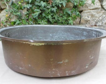 Copper Pan Massive Antique Copper Cast Iron Handle Very Dark Tin Lining Copper Pot True Ancient 1800s Quality Copper Direct From France