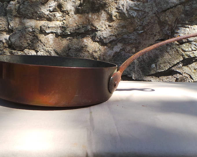 "Antique Copper Pan 1.7mm Copper Saute Bronze Handle 20cm 8"" Unrestored Very Dark Tin Sauteuse Copper Direct From France"