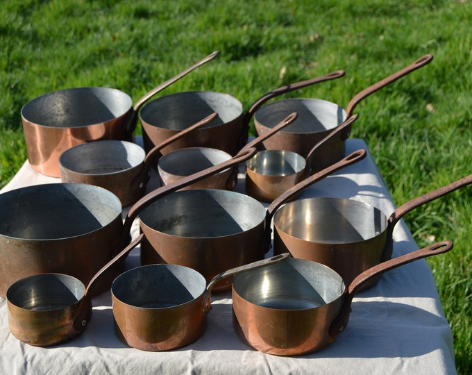 Job Lot 12 Copper Pans Antique and Vintage, Antique Pots Unrestored Sold As Found