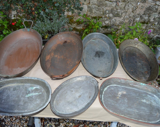 Job Lot 7 Copper Oval Gratin Roasting Oven Pans Unrestored Sold As Found Unrefurbished Unpolished Well Used Scratches Missing Ring Handles