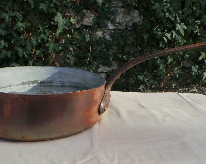 "Antique Copper Pan 1.4mm Copper Saute 24cm 9 1/2"" Unrestored Well Used Very Dark Tin Copper Pan Sauteuse Copper From France"