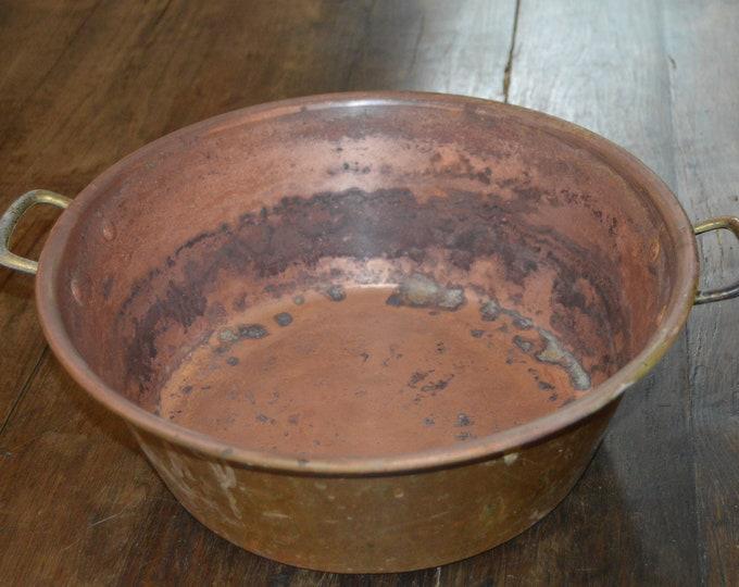 Vintage Copper Jam Pan Jam Pot Cast Bronze Handle Copper Jam Pot True Vintage Patina 1980's French Copper Quality Copper Direct From France