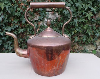 Copper Kettle French Made Bouloire Antique Copper Limescale Fair Interior Well Used Good Handle Thick Brass Mounts Brass Fineal