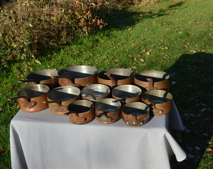 Job Lot 12 Copper Pans Antique and Vintage Copper Pans Unrestored Sold As Found Unrefurbished Unpolished Well Used Scratches