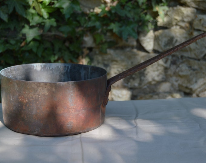 "Ancient 1.6mm Copper Pan Sauce Pan 20cm 8"" Unrestored Well Used Missing Tin Lined Quality Copper Direct From France Ancient Heritage Copper"