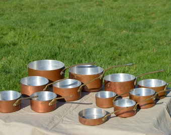 Lot 12 Copper Clad Aluminium Pans Graduated Copper Pans Unlined Unrestored Sold As Found Unrefurbished Unpolished Well Used Scratches