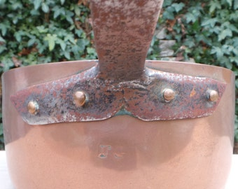 """Ancient 1.6mm Copper Pan Saute Pan 25cm 10"""" Unrestored Well Used Missing Tin Lined Copper Direct From France Dented Uneven Base Sauteuse"""