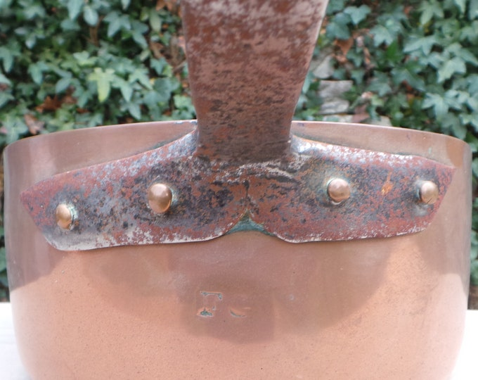 "Ancient 1.6mm Copper Pan Saute Pan 25cm 10"" Unrestored Well Used Missing Tin Lined Copper Direct From France Dented Uneven Base Sauteuse"