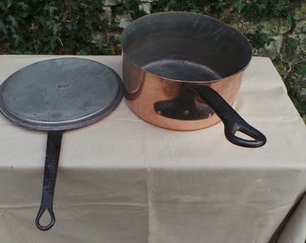 """Copper Saucepan and Lid Antique 1.5mm Copper Pan 26cm 10 1/4"""" Well Used Missing Tin Pot Sauteuse with Lid Quality Copper Direct From France"""