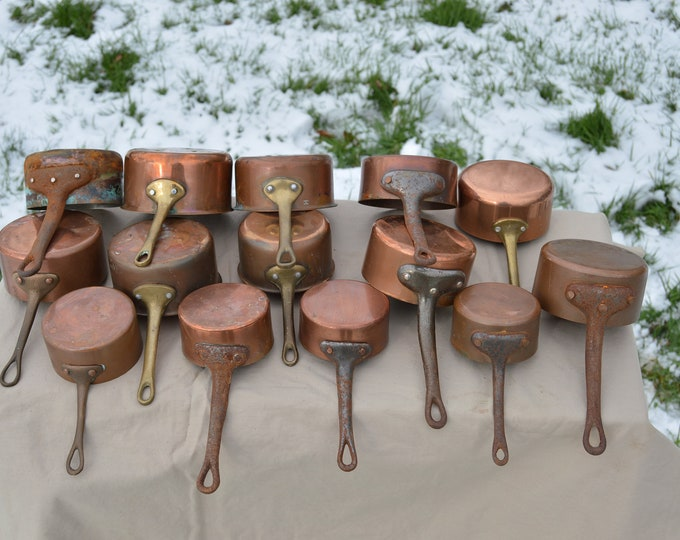 Job Lot 14 Copper Pans Unrestored Sold As Found Unrefurbished Butter Pans Well Used Scratches Various Stamps 7.5-11cm Dealers Lot Small Pans