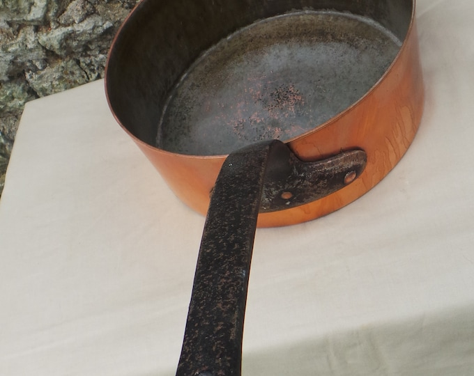 "Vintage Copper Pan 2.3mm Copper Saute 26cm 10 1/4"" Unrestored Missing Dark Tin Copper Pan Deep Sauteuse Wholesale Copper Direct From France"