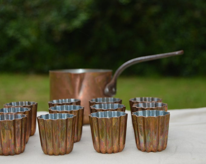 12 French Copper Mould Molds Cannelles Canneles Canelés Copper Cake Jello Used Missing Tin Plus Butter Pan Quality Copper Direct From France