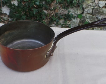 """Copper Pan 1.1mm Saute Sauce Copper Pan Unrestored Sold As Found Unrefurbished 12cm 4 3/4"""" Antique Copper Direct from France"""