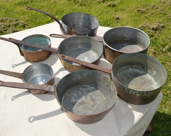 Job Lot 7 Copper Pans Ancient Manufactures Copper Pans Unrestored Sold As Found Unrefurbished Unpolished Scratches Dents Repairs