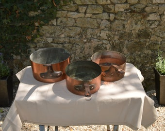 Three Antique Pans 21cm, 22cm and 25cm Tin Lined French Copper Pans Unrestored Collected 1.1-1.5mm Quality Pans Direct From France