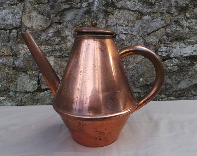 Kettle Coffee Pot Pitcher Jug Vintage French Decorative Dark Interior Jug Pitcher Coquemar Teapot Copper Pot Lid Bent