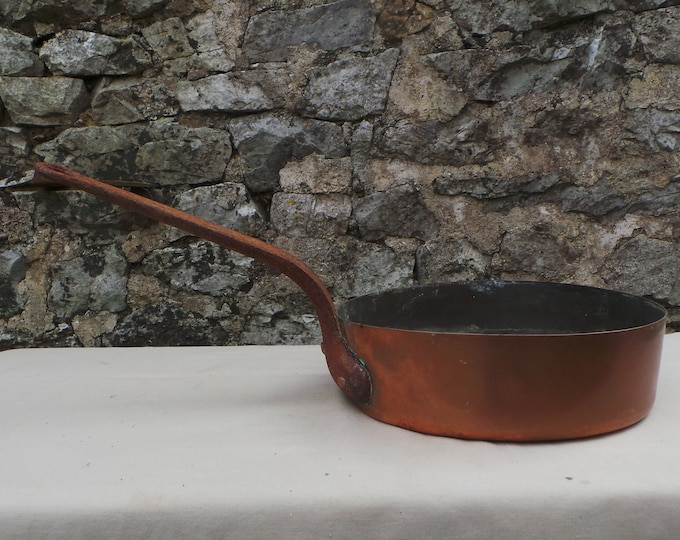 "Antique Copper Pan Saute Copper Pan 0.8mm 22cm 8 5/8"" Unrestored Well Used Missing Tin Copper Sauteuse Copper DIrect From France"