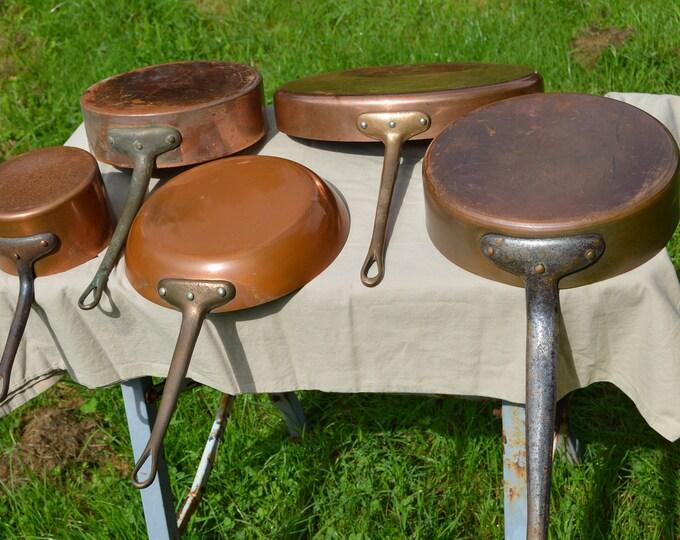 Job Lot 5 Copper Pans Vintage Matillon Metaux Ouvres Manufacturers Copper Unrestored Sold As Found Unrefurbished Unpolished Scratches Dents