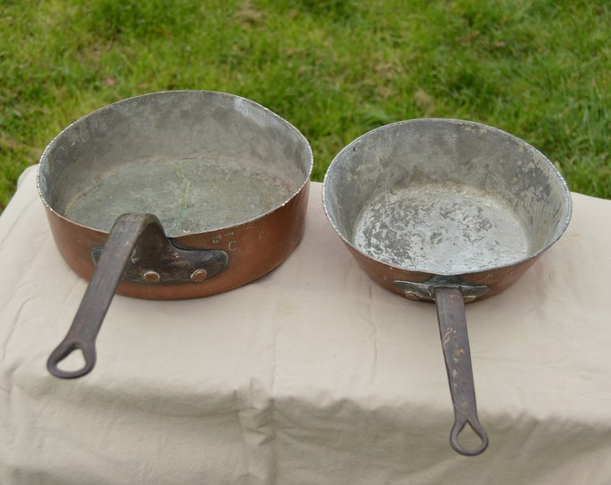 Ancient Copper Pans 2.3mm 2.7mm 25cm Saute, 22cm Windsor Tin Lined French Copper Pans Unrestored Quality Copper Direct from France