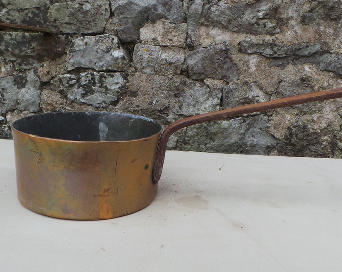"""Copper Pan 1.5mm Sauce Hammered Long Handle Unrestored Sold As Found Unrefurbished 13cm 5"""" Antique Copper Direct from France"""