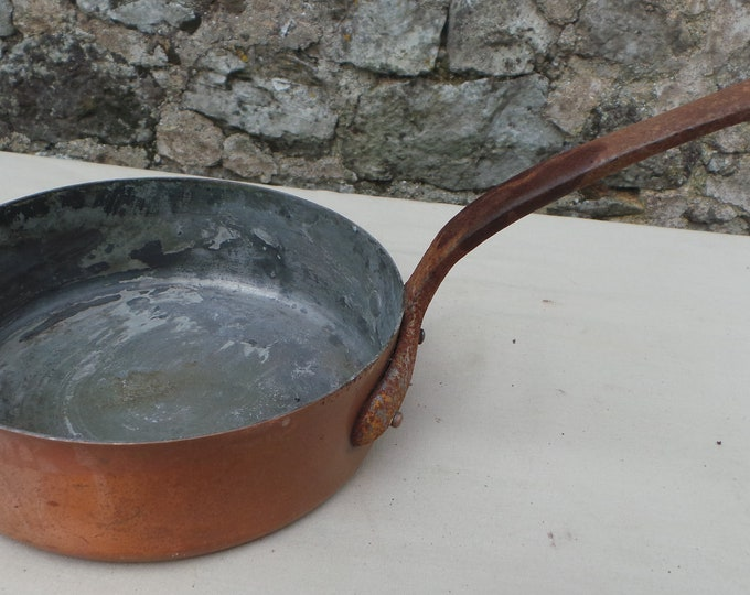 """Vintage 1.15mm Copper Pan Saute Copper Pan 16.5cm 6 1/2"""" Unrestored Well Used Copper Pan Sauteuse Quality Copper Direct From France"""